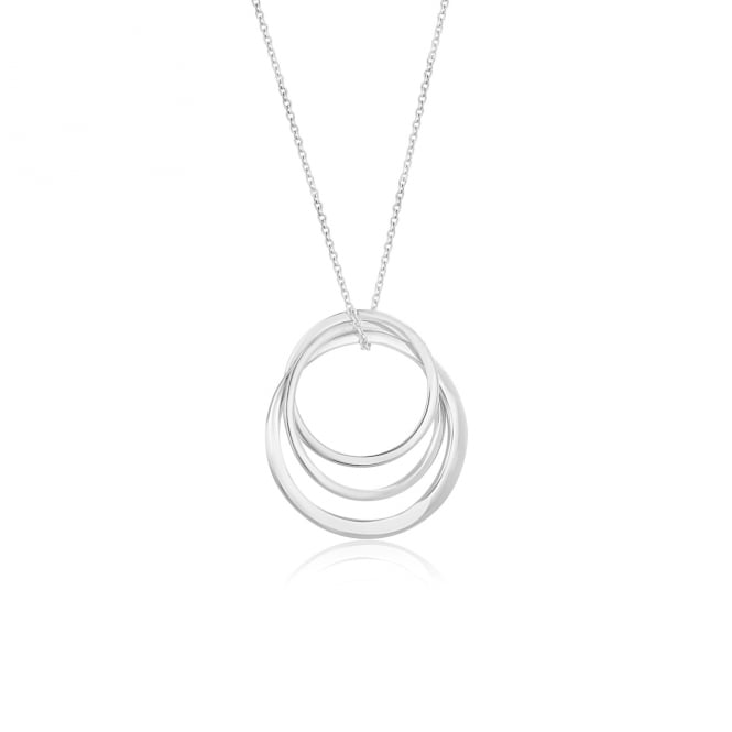 Avanti 18ct White Gold Triple Interlocking Ring Pendant and Trace Chain PW3683 + CW2578