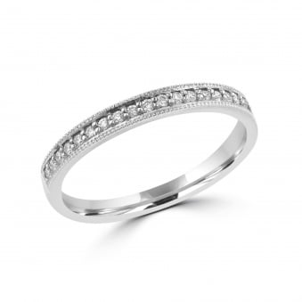 18ct White Gold Vintage Inspired Diamond Wedding Ring RWT30137