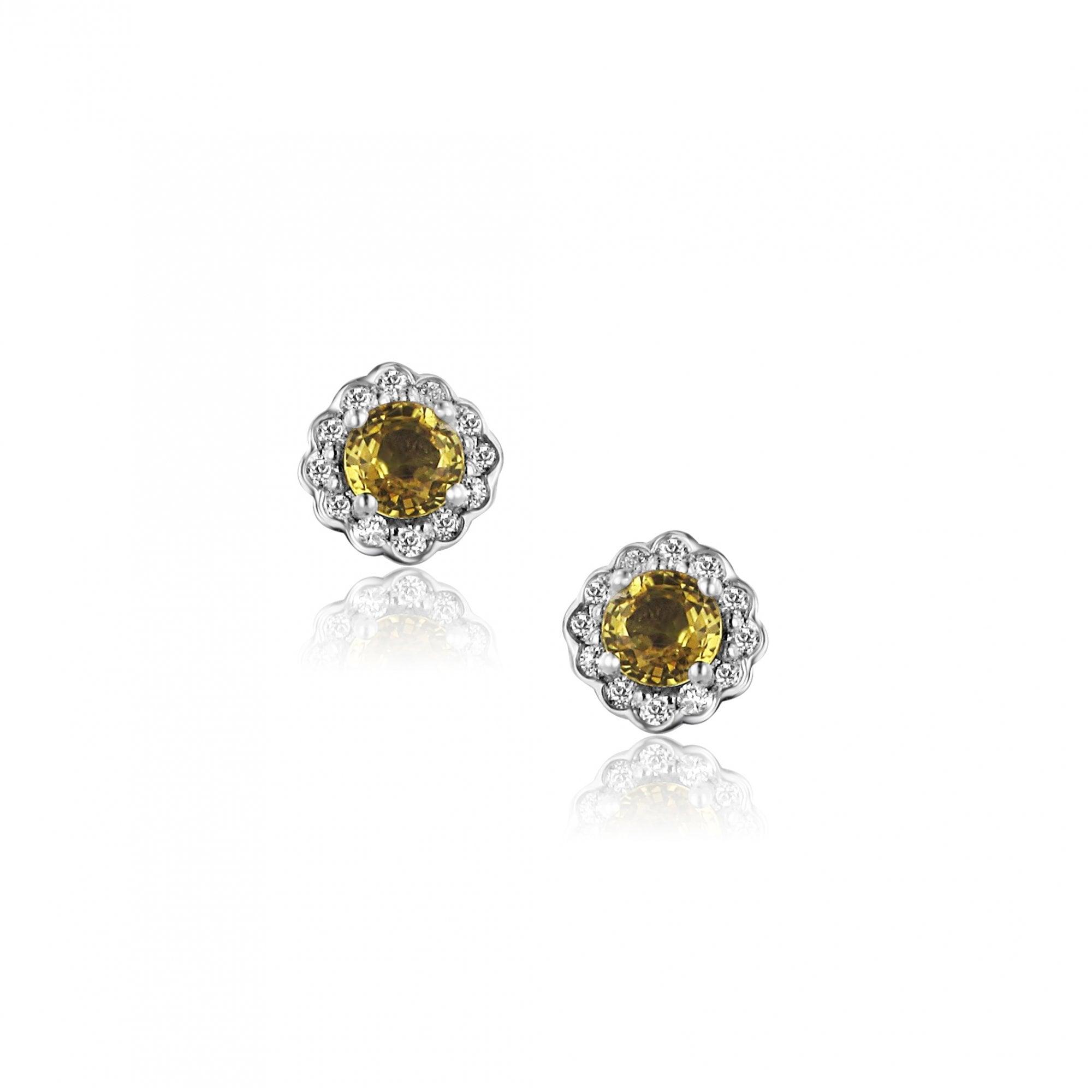 b2bc0e633 Avanti 18ct White Gold Yellow Sapphire and Diamond Halo Stud ...