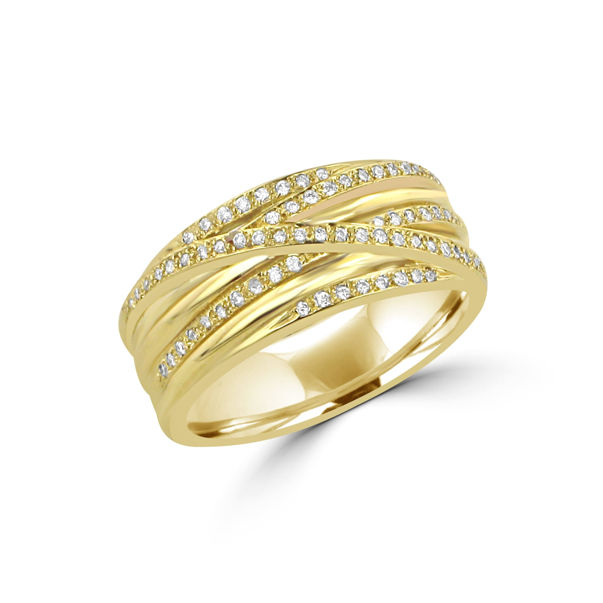 normal diamond gallery spiral bands multi collection white goldclear lyst in jewelry product ef ring metallic