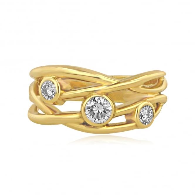Avanti 18ct Yellow Gold Cascata Three Stone Diamond Ring