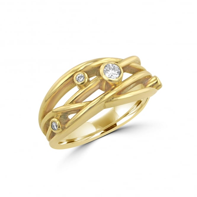 Avanti 18ct Yellow Gold Four Band Crossover Diamond Ring