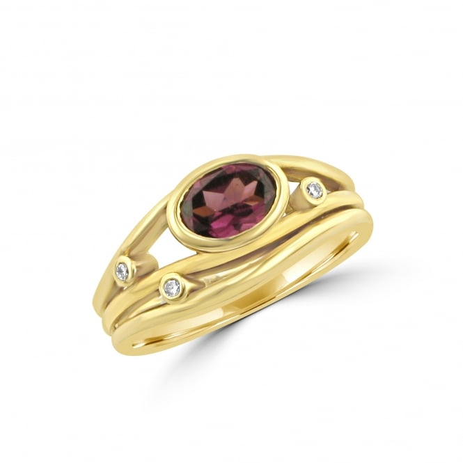 Avanti 18ct Yellow Gold Garnet and Diamond Ring