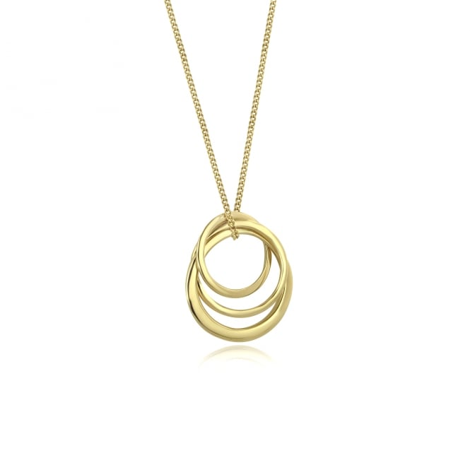 Avanti 18ct Yellow Gold Triple Interlocking Ring Pendant and Chain PY3686 + CY3510