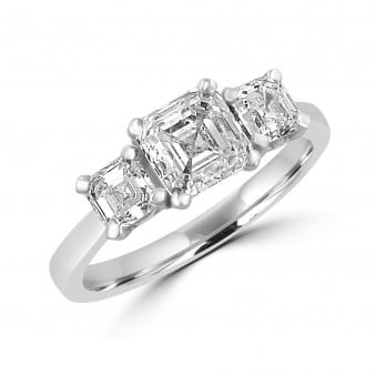 2.00ct Asscher Cut Diamond Three Stone Ring RWD34293