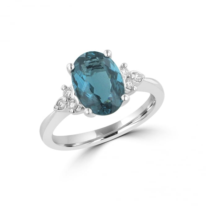 Avanti 2ct Blue Tourmaline and Diamond Ring in White Gold