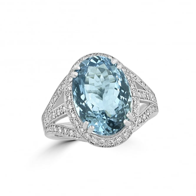 Avanti 5.82ct Aquamarine and Diamond Cluster Ring in 18ct White Gold