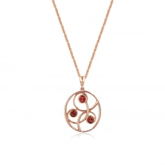 9ct Rose Gold Pink Tourmaline Pendant and Chain