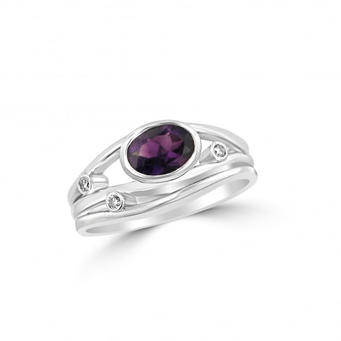 Avanti 9ct White Gold Amethyst and Diamond Ring