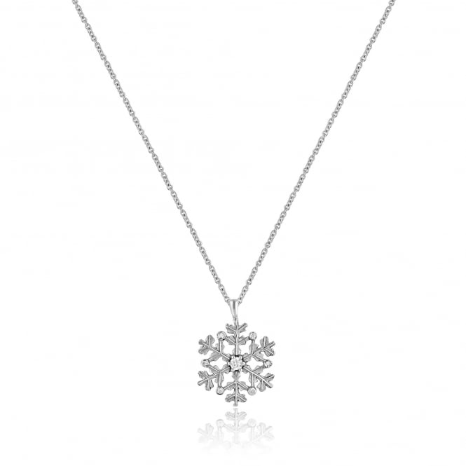 Avanti 9ct White Gold Christmas Winter Snowflake Necklace