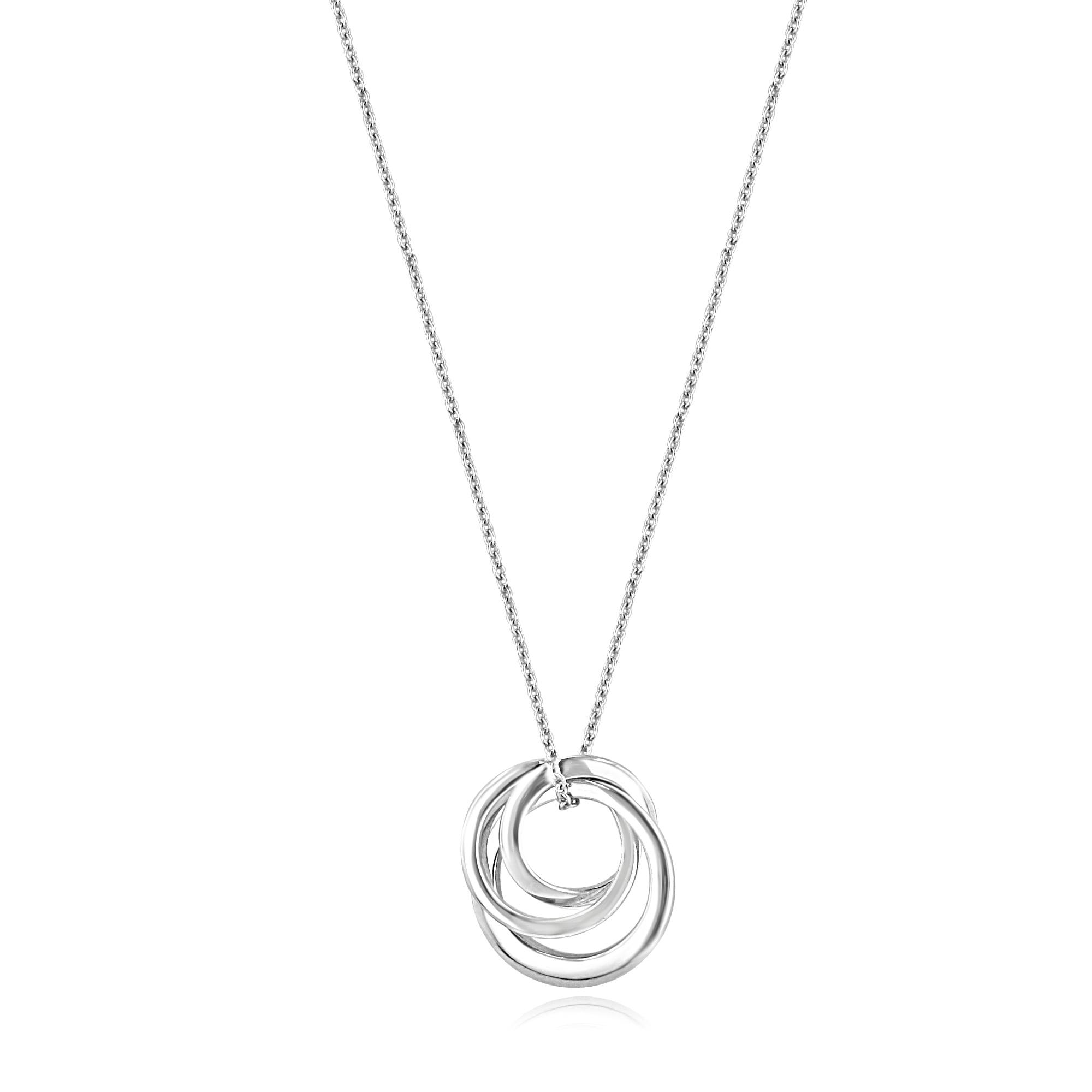45eacb3fc Avanti 9ct White Gold Triple Interlocking Ring Pendant and Trace Chain