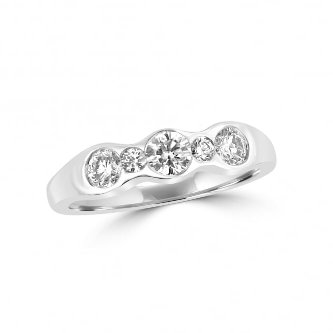 Avanti Five Stone Round Diamond Wave Ring in 18ct White Gold