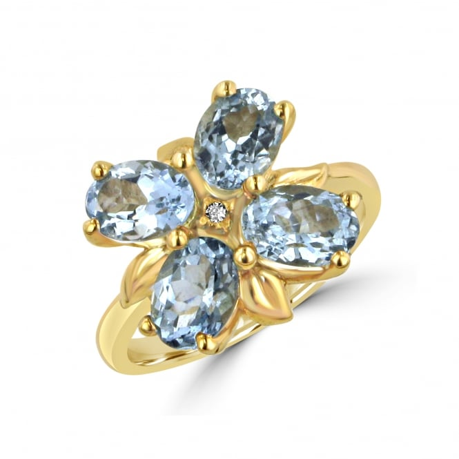 Avanti Four Oval Aquamarine Flower Ring