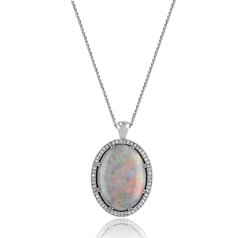 Avanti large opal and diamond pendant and chain womens from avanti large opal and diamond pendant and chain aloadofball Images