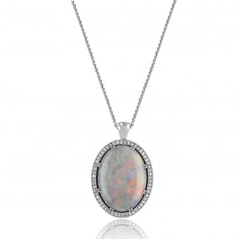 Large Opal and Diamond Pendant and Chain