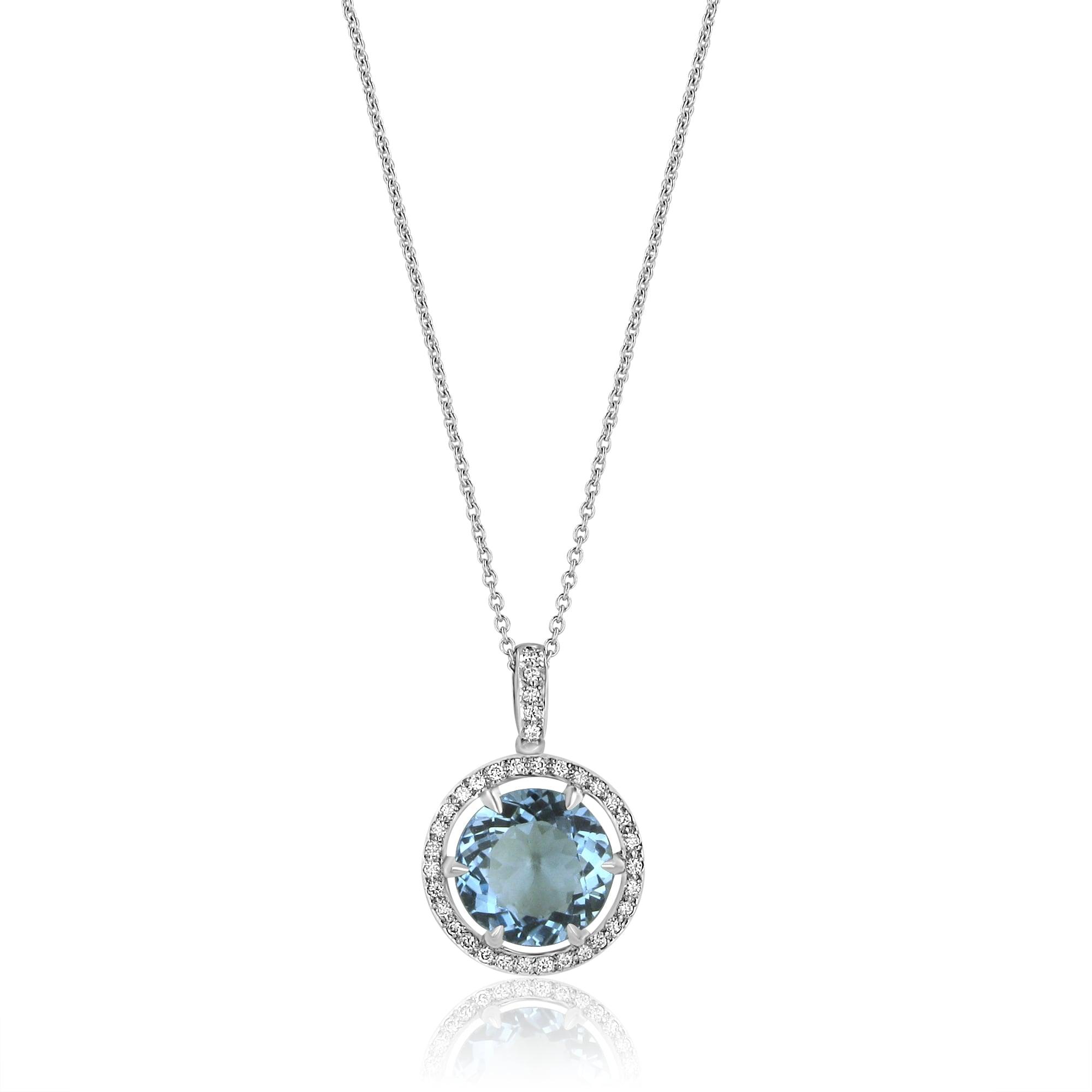 Avanti large round aquamarine and diamond halo pendant and chain large round aquamarine and diamond halo pendant and chain aloadofball Image collections