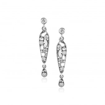 Ornate 18ct White Gold and Diamond Earrings EWD35203