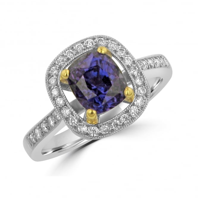 Avanti Platinum 2.01ct Sapphire and Diamond Halo Ring