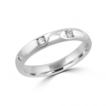 Platinum 3mm Wedding Ring With Four Diamonds RPW2920
