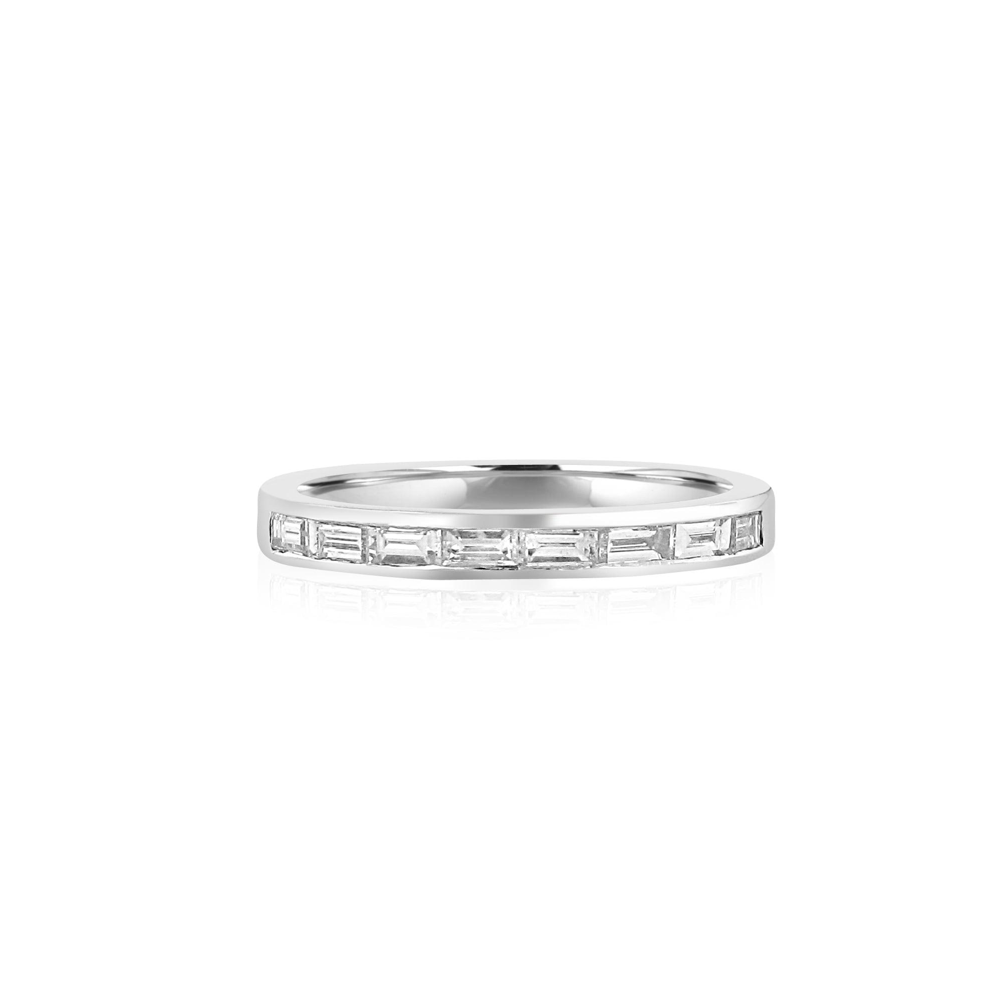 Avanti Platinum band Ring Set With Eight Baguette Diamonds