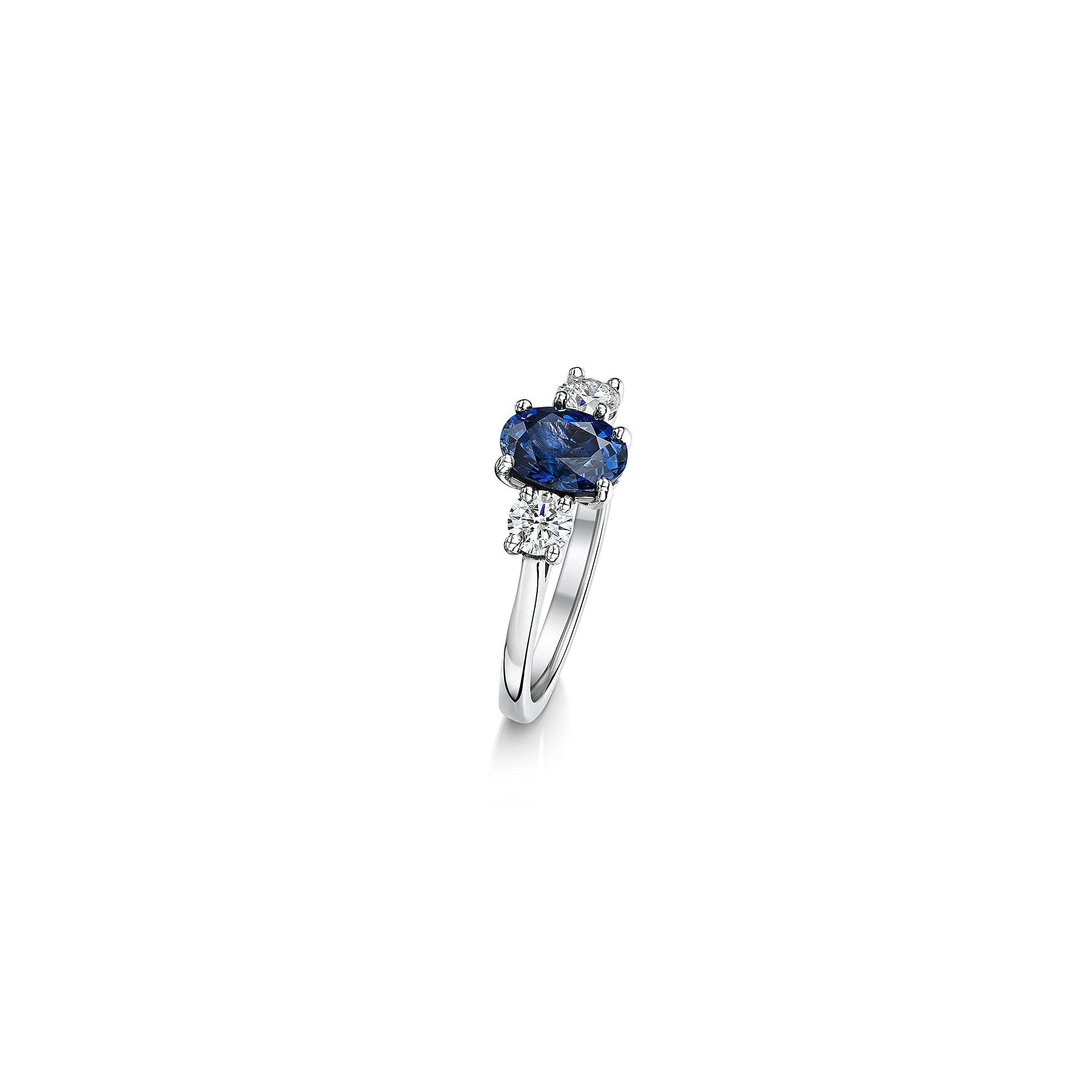 9ab17c77d5a6b Platinum One Carat Sapphire and Diamond Three Stone Ring RPN3728