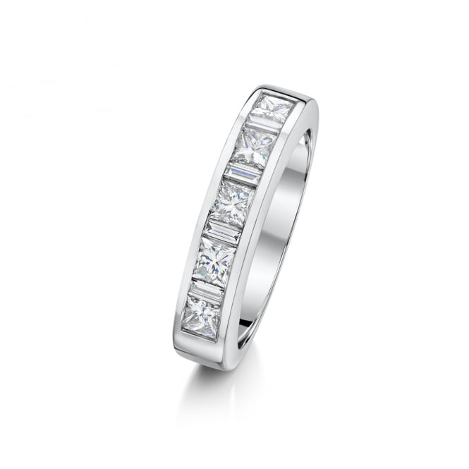 Avanti Platinum Princess and Baguette Diamond Eternity Ring 1.24ct Total