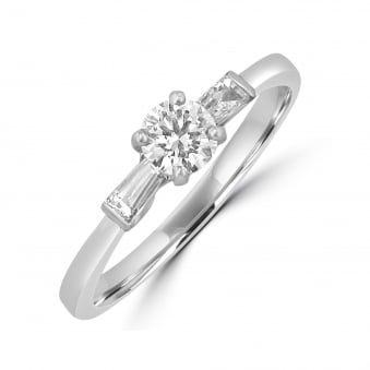 Round and Baguette Diamond Engagement Ring RWN33132