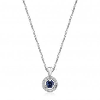 Round Deco Sapphire and Diamond Necklace