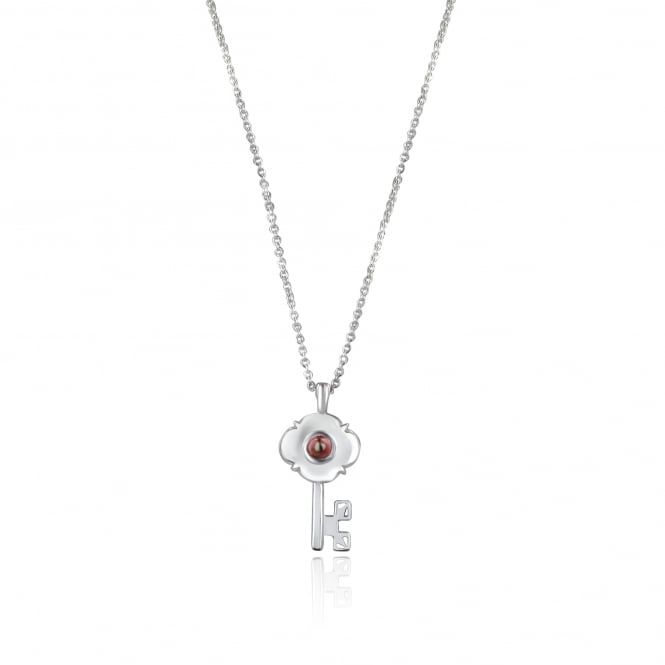 Avanti Silver Key Necklace set with Garnet (padlock pendant also available)