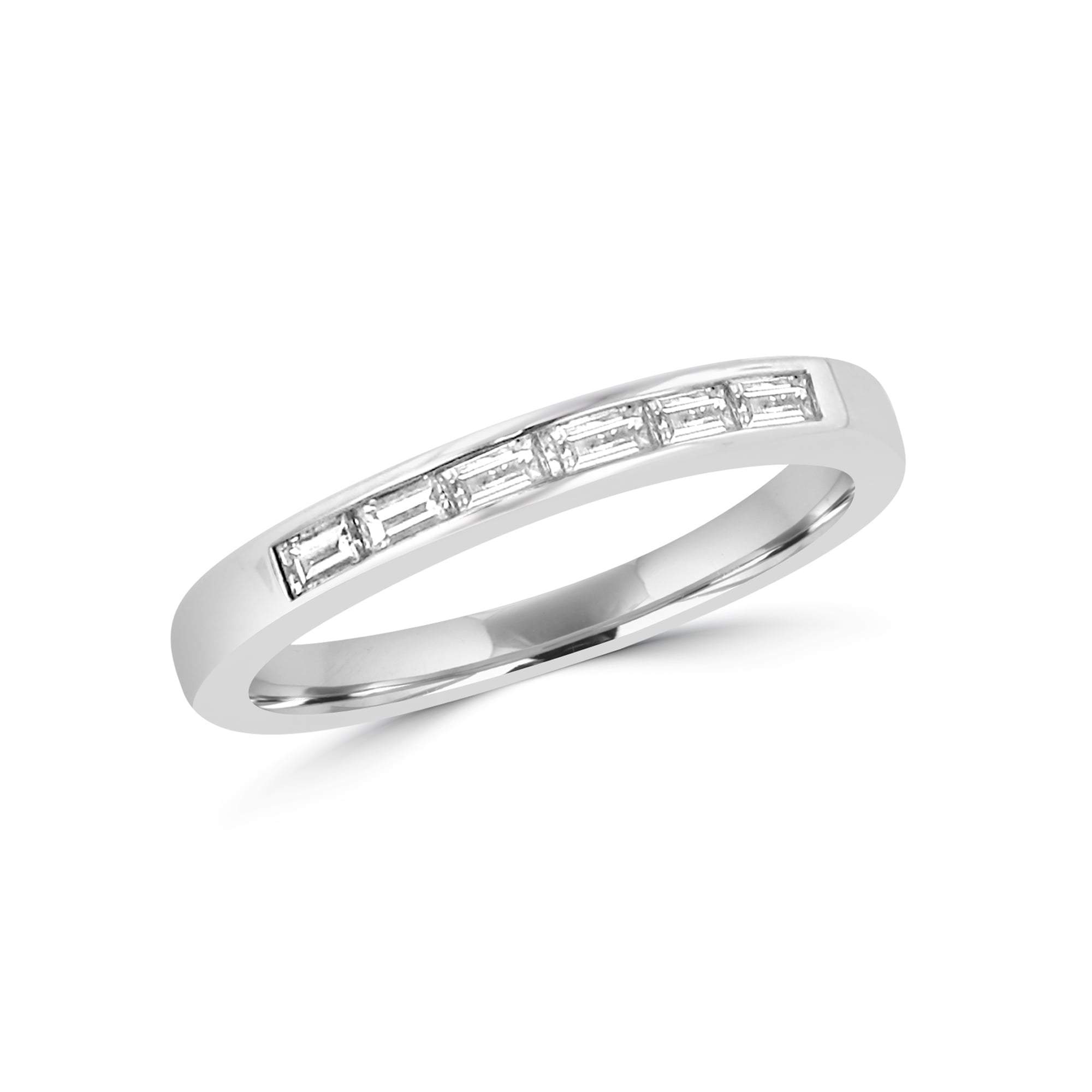 Avanti Six Baguette Diamond Wedding Ring in 18ct White Gold Womens