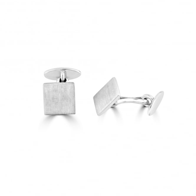 Avanti Square Silver Matt Satin Cufflinks