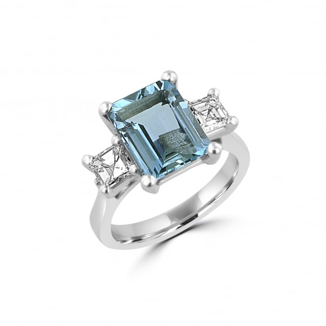 Avanti Three Carat Aquamarine and Diamond Three Stone Ring in 18ct White Gold RWD36424