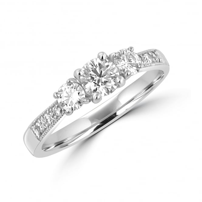 Avanti Three Round Diamond Ring With Diamond Shoulders