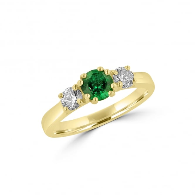 Avanti Three Stone Emerald and Diamond Ring