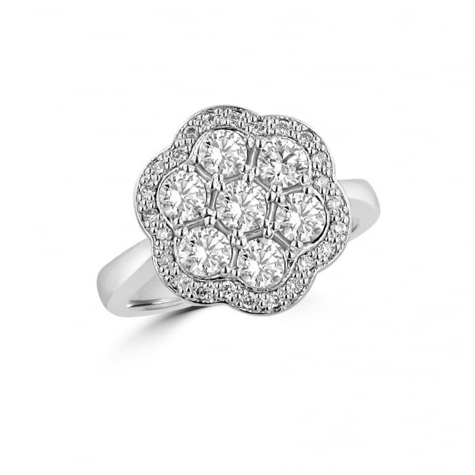 Avanti Unique White Gold Round Diamond Halo Cluster Ring