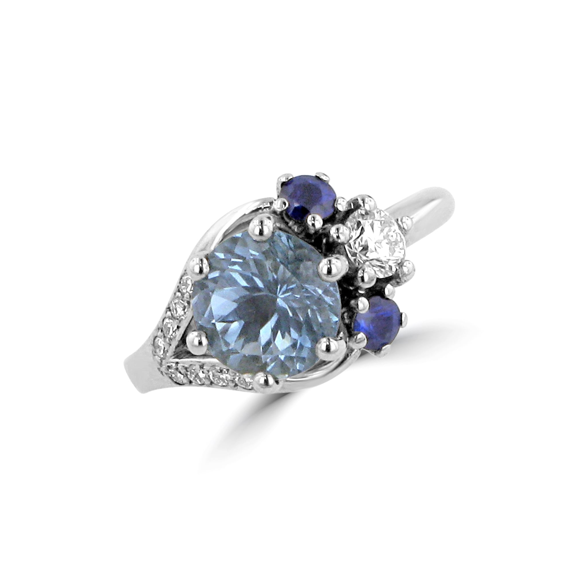 silver center domed ring plated sapphire oval platinum blue cz double cut cocktail accent sterling