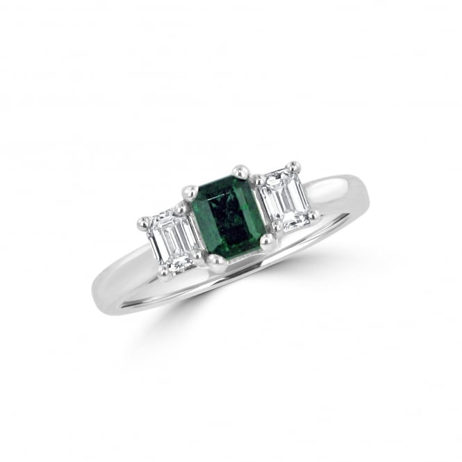 Avanti White Gold Emerald and Diamond Three Stone Ring RWD36416