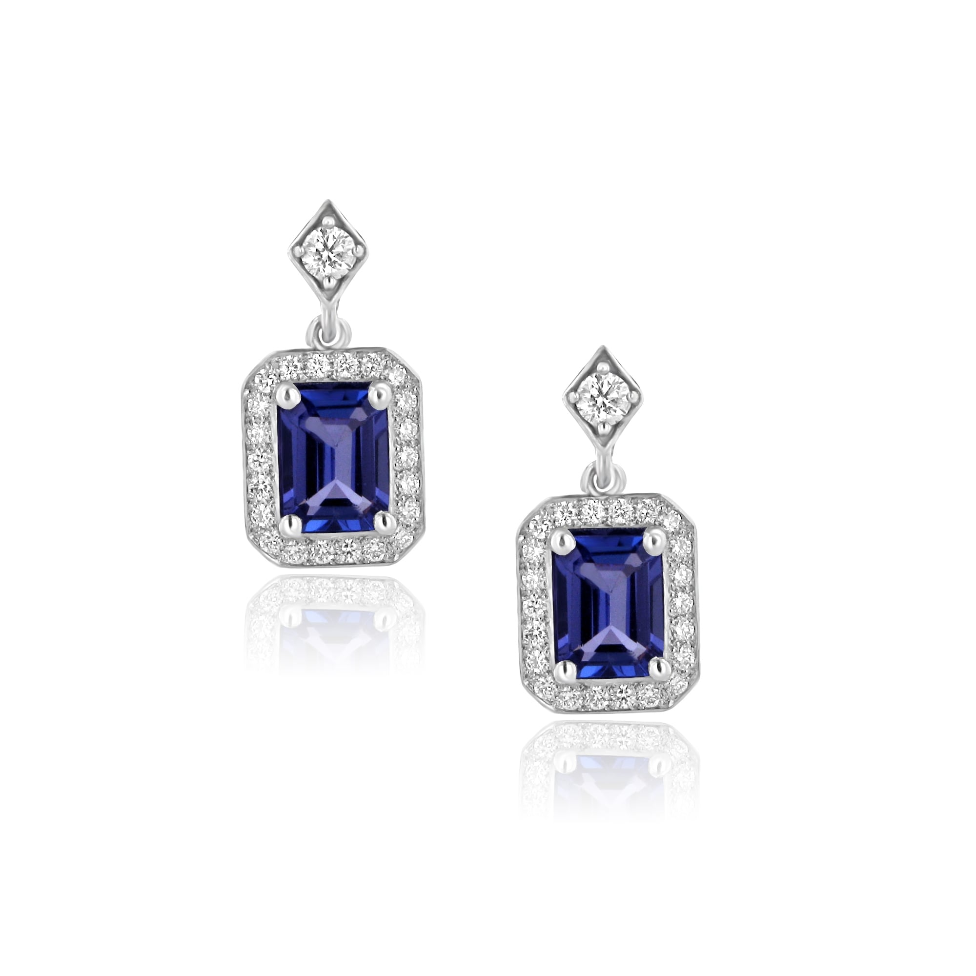 womens white gold earrings avanti from image stud teardrop tanzanite