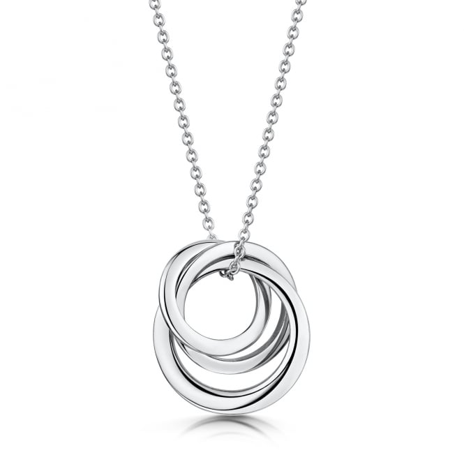 Avanti White Gold Triple Interlocking Ring Pendant and Trace Chain PW3684 + CW366