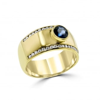 Wide 18ct Yellow Gold Sapphire and Diamond Ring RYD36430