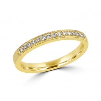 Yellow Gold Fifteen Round Diamond Wedding Ring RYW34325