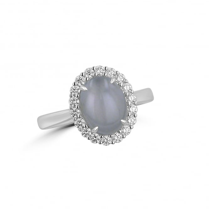 Cabochon Star Sapphire and Diamond Cluster Ring