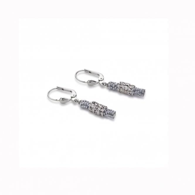 Coeur De Lion Steel and Silver Swarovski Crystal and Haematite Earrings