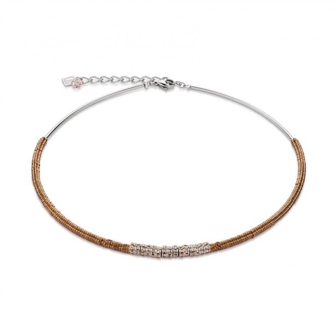 Coeur De Lion Steel Brown Necklace With Champagne Swarovski Crystal and Haematite