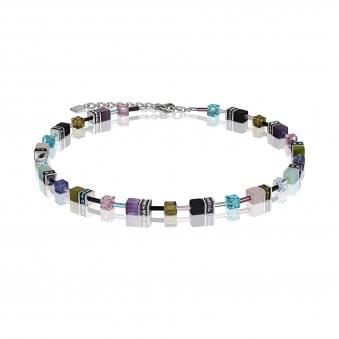 Steel Vintage Multi Coloured Crystal Necklace With Amethyst, Rose Quartz, Amazonite and Matt Onyx
