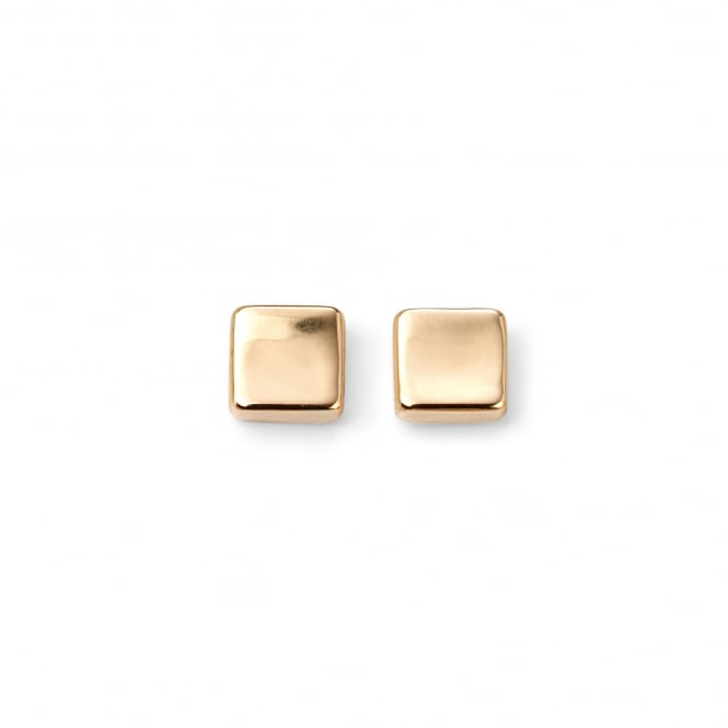 Concave 9ct Yellow Gold Square Stud Earrings EYT36146