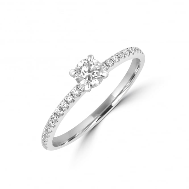 Delicate 0.23ct Round Diamond Engagement Ring with Diamond Set Band