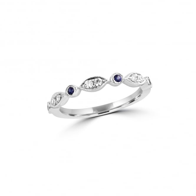 Delicate 18ct White Gold Sapphire and Diamond Vintage Inspired Ring