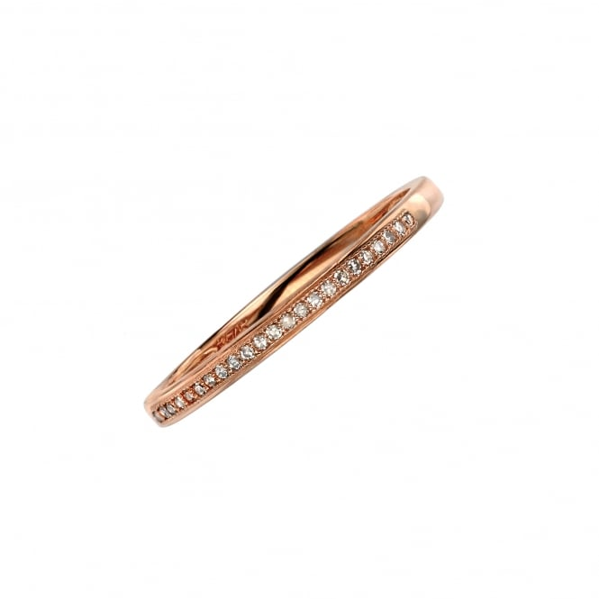 Delicate 9ct Rose Gold 2mm Wide Diamond Band Ring