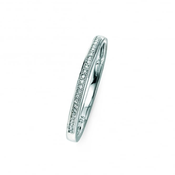 Delicate 9ct White Gold 2mm Wide Diamond Band Ring